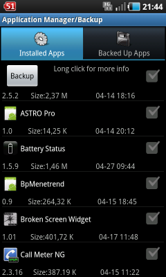 Android alapok kezdőknek Astro Application Manager Backup