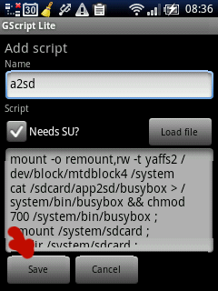 Gscript Lite add script a2sd.sh save