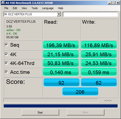 AS SSD Benchmark OCZ Vertex Plus 60 GB