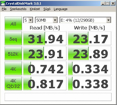 "Crystal Disk Mark LG 320GB 2,5"" XD5 Black-Silver HXD5U32GLS cyrstal disk mark"