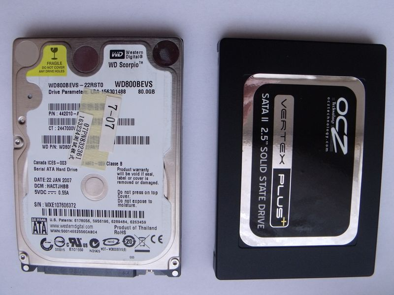WD Scorpio WD800B OCZ Vertex Plus 60GB